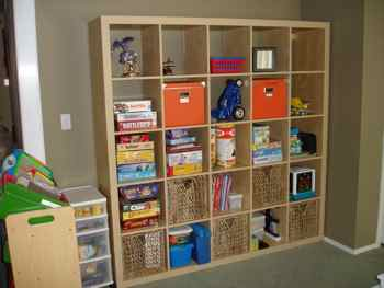 Playroom wall unit after