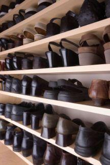 shoes on shelves