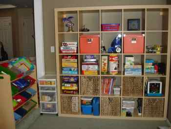 Playroom wall unit after two